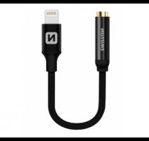 Adapter SWISSTEN TEXTILE pro iPhone Lightning - Jack 3,5mm, 0,15m,  černá obrázek
