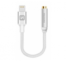 Adapter SWISSTEN TEXTILE pro iPhone Lightning - Jack 3,5mm, 0,15m, stříbrná obrázek