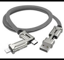 Data kabel HOCO S22 Magic cube, 4v1, Lightning/USB-C 3A, 1.2m, stříbrná obrázek