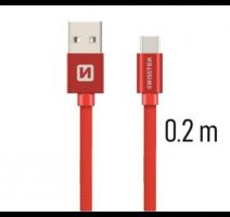 Data kabel SWISSTEN Textile USB-C 0,2 m, červená obrázek