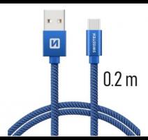 Data kabel SWISSTEN Textile USB-C 0,2 m, modrá obrázek