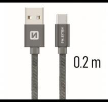 Data kabel SWISSTEN Textile USB-C 0,2 m, šedá obrázek