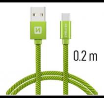 Data kabel SWISSTEN Textile USB-C 0,2 m, zelená obrázek