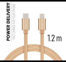 Data kabel SWISSTEN Textile USB-C/Lightning 1,2m, zlatá obrázek