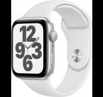 Hodinky Apple Watch SE 44mm Silver Aluminium, White Sport pásek (2020) obrázek