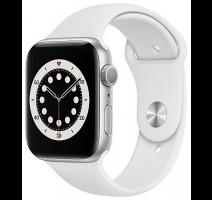 Hodinky Apple Watch Series 6 44mm Silver, White Sport pásek (2020) obrázek